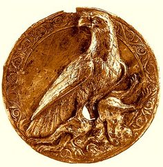 Silver medallion 2nd century BC, excavated in Sisian, Syunik region of Armenia. Depiction of a Golden Eagle clutching some type of wild cat, most probably a leopard. The symbolism of the Golden Eagle was important in pre-historic motif's on the Armenian highland, as well as many of the Armenian Dynasties of the the old, this is a depiction from the Artashesian Dynasty, where King Tigran II the Great hailed from, linked to the Yervanduni (Orontid Dynasty).