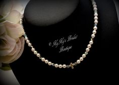 Pearl Flower Girl Necklace with Sterling Silver Cross by KyKysBridalBoutique, $29.00 #flowergirljewelry #flowergirlnecklace