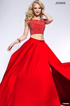 Prom 2016 △ Red Two Piece Prom Dress with Crystal Embellished Top △ Jovani.com