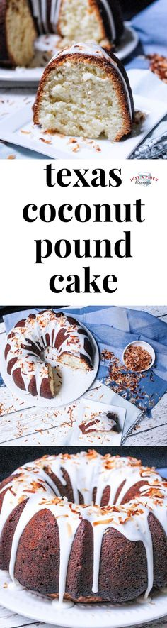 Texas Coconut Pound Cake Moist with a dense yet tender crumb with the perfect amount of coconut flavors youre going to love this pound cake recipe Kokos Desserts, Coconut Desserts, Coconut Recipes, Köstliche Desserts, Dessert Recipes, Coconut Pound Cakes, Pound Cake Recipes, Dessert Simple, Just Cakes