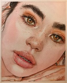 Reina Yamada is an artist who works actively in Japan and is the author of many works of watercolor art. The re-adaptation of watercolor paint. Watercolor Portrait Tutorial, Watercolor Portrait Painting, Watercolor Art Face, Portrait Art, Painting & Drawing, Pencil Art Drawings, Cool Art Drawings, Art Sketchbook, Face Art