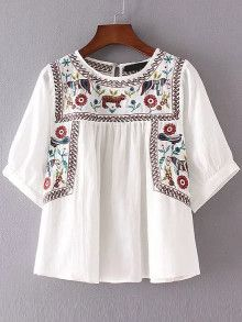 White Embroidery Elbow Sleeve Keyhole Blouse
