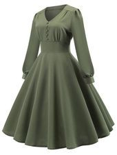Vintage Green Elegant Backless Party Midi Swing Dress, Army Green / S Office Dresses For Women, Summer Dresses For Women, Fall Dresses, Sexy Dresses, Beautiful Dresses, Casual Dresses, Vintage Ball Gowns, Robes Vintage, Vintage Dresses