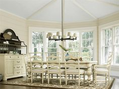 Long off-white dinning room table set from CF Home Furniture & Design.