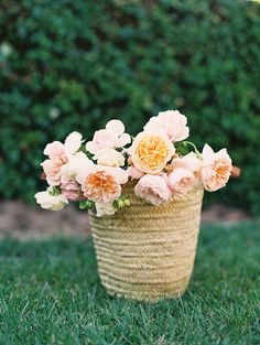 flowers in french basket