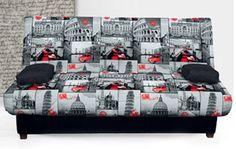 249€ Sofá Cama con sistema clic-clac para variar la posición a tu gusto. #sofá #cama #juvenil #italia Deskontalia Productos - Descuentos del 70%