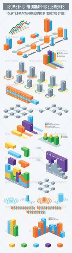 Isometric Infographic Elements #infografik Download: http://graphicriver.net/item/isometric-infographic-elements/7419498?ref=ksioks
