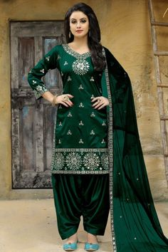 edbf87a9a7 Gorgeous Dark Green Taffeta Silk Patiala Suits Salwar Dress, Punjabi Dress, Patiala  Suit,