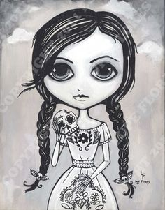 Addicted to Sugar Skulls 16x20 Giclee art print day of the dead sweet tooth girl. $26.99, via Etsy.