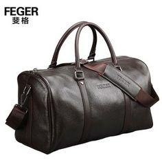 de cuero genuino portátil bolsa de viaje