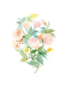 Handmade Watercolor Archival Art Print- Rose Bouquet in Peach, Mint and Copper