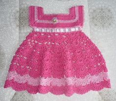 Vestido Em Crochê Rosa Para Bebê - CROCHE COM RECEITAS