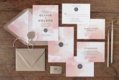 Mod Watercolor Wedding Invitation & Correspondence Set / Textured Watercolor with Contemporary Accents / Sample Set by rachelmarvincreative on Etsy https://www.etsy.com/listing/281577188/mod-watercolor-wedding-invitation