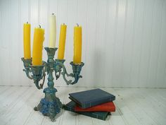 Shabby Chic Chippy Paint Brass Standing Candelabra by DivineOrders, $37.00