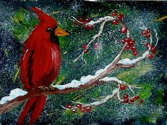 This colorful cardinal sits on his snowy berry branch against a backdrop of evergreen folage. He would make a excellent holliday greeting card and is easy to paint. The step by step lesson will be in our www.gallery liberary this week. Acrylic Painting Lessons, Easy Canvas Painting, Easy Paintings, Watercolor Painting, Acrylic Paintings, Acrylic Art, Painting Tips, Christmas Paintings, Christmas Art