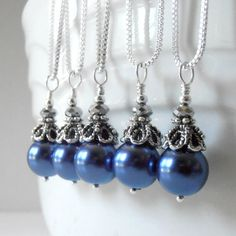 Bridesmaid Jewelry Navy Blue Pearl Necklace Beaded Jewelry Pearl Pendant Handmade, Guinevere on Etsy, $14.00
