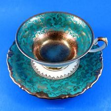 Aqua Green and Gold Center Kunst Kronach Bavaria Germany Tea Cup and Saucer Set