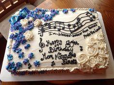 Flower and music birthday cake