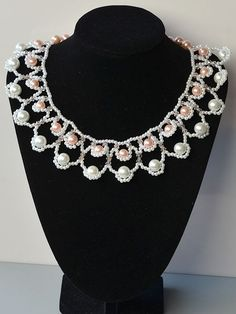 Free Beading Pattern: Sea Wave Bib Necklace with Glass Pearl Beads by PandaHall featured in Bead-Patterns.com Newsletter!
