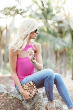 Hot Pink Top + Leopard Clutch