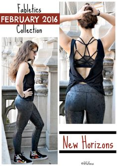 Fabletics February 2016 Collection   Fit & Fashionable Friday   Sweaty Style   Active Wear   Salar Leggings Crackle Print   Femina Tank   Sports Bra   Open Back Tops   Fitness Apparel @fabletics