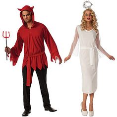 Devil and Angel Adult Couple Halloween Costume Value Bundle
