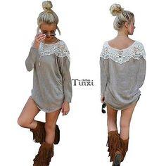 Women Summer Tops Long Sleeve Blouse Casual Long Lace T-Shirt Mini Dress TXCL