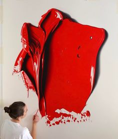 Australian artist Cj Hendry (previously) tricks the eye with her hyper-realistic drawings, works that recreate the appearance of thick swabs of brightly colored paint. To achieve the dimensionality and sheen of fresh oil paint she layers dry pigment atop colored pencil, accurately portraying the liq