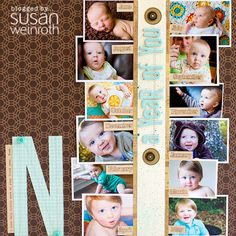 Wonderful multiphoto LO by Susan Weinroth with SC July kit Mind the Gap. That's 12 photos! Got to try this!