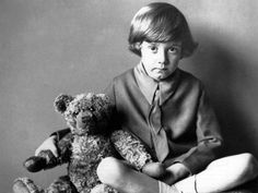 """Winnie The Pooh: """"We'll be friends forever"""" is what loveable Winnie the Pooh would say to his best friend, Christopher Robin. Before his cartoon popularity, this photo shows the affection the real Christopher Robin had with his Pooh Bear. Winnie The Pooh Author, Winnie The Pooh Quotes, The Real Christopher Robin, Christopher Milne, Alan Alexander Milne, John Wright, Pooh Bear, Interesting History, New York Public Library"""