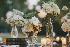 Varied vases for centerpieces