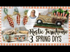 I hope you like these 3 rustic farmhouse Spring DIYs here in this video. Dollar Tree Decor, Dollar Tree Crafts, Easter Crafts, Easter Decor, Easter Ideas, Summer Crafts, Diy And Crafts, Truck Crafts, Dollar Store Hacks
