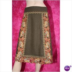 Karen Millen Embroidered Wool Skirt Size 16 New with Tag Rare on eBid United Kingdom
