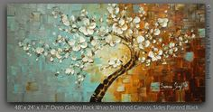 ORIGINAL Tree Painting Large Textured White by ModernHouseArt. Oh pretty please my love?? #rustic #decor #trees