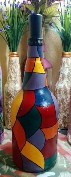 Bottle Painting, Bottle Art, Diy And Crafts, Arts And Crafts, Bottle Jewelry, Xmas Cookies, Wine Bottle Crafts, Crafty, Desserts