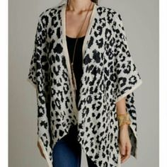 Spotted Poncho - S NWT. Sz Small. Fits up to sz 12/14. Sleeves can be buttoned or left unbuttoned. Warm & cozy material.  No Paypal No Trades Price firm unless bundled Jackets & Coats