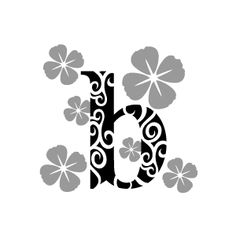 Graphic Design of Flower Clipart - Black Alphabet b with White Background