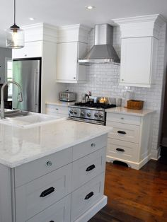IKEA Adel White - traditional - kitchen - toronto - by Still Waters Design COUNTERS: Quartz called Biano Carrera. Ikea Adel Kitchen, Ikea Small Kitchen, Ikea Kitchen Design, Kitchen Tops, New Kitchen, Kitchen Dining, Kitchen Decor, Kitchen Ideas, Ikea Design