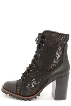 Report+Signature+Allon+Black+Lace+High+Heel+Booties+at+LuLus.com!