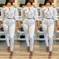 Trendy Bowknot Shirring Off Shoulder Cropped Blouse All White Outfit, White Outfits, Casual Outfits, Fashion Outfits, Womens Fashion, Outing Outfit, African Shirts, Crop Blouse, African Fashion Dresses