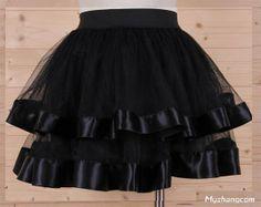 Vêtements pour femmes dames. filles. falbala tulle de gaze élastique niveaux plein mini jupe courte couleur