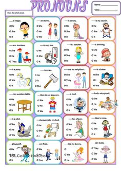 A simple grammar worksheet about the use of subjective pronouns.It is easy and simple for young learners or struggling students . It can be given at the end of your lesson as a wrap up. English Grammar For Kids, English Worksheets For Kids, English Lessons For Kids, Kids English, English Activities, Teaching English, Learn English, Pronoun Activities, Pronoun Worksheets