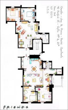 Apartment of the serie Friends! Where Joey (Matt LeBlanc) e Chandler (Matthew Perry), Monica (Courteney Cox) and Rachel (Jennifer Aniston) lived!