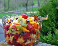Winter Fruit Salad ♥ KitchenParade.com, when fresh fruit is scarce, a combination of fresh, frozen and canned fruit brightened with lemon peel and a fruity liqueur like Grand Marnier. Vegan. Gluten Free.