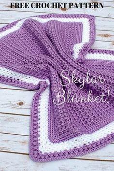 Free Crochet Pattern Skylar Blanket Pattern Paradise - This Blanket ; Crochet Afghans, Crochet Baby Blanket Free Pattern, Crochet Baby Blanket Beginner, Easy Crochet, Crochet Stitches, Knit Crochet, Crocheted Baby Blankets, Booties Crochet, Crochet Hats