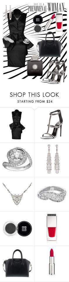 """Power Tripping"" by afinediime ❤ liked on Polyvore featuring Marchesa, Tom Ford, Givenchy, AMOUAGE, boss, power and girlpower"