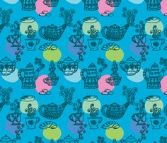 a_table__turquoise_L by nadja_petremand, click to purchase fabric
