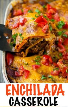 Beef Enchilada Casserole {A Crowd Pleaser} - Spend With Pennies This Beef Enchilada Casserole has layers of ground beef, beans, tortillas and cheese, all smothered in enchilada sauce and baked to perfection. Enchilada Sauce, Enchilada Lasagna, Enchilada Casserole Beef, Enchilada Recipes, Mexican Casserole, Corn Tortilla Recipes, Mexican Lasagna With Tortillas, Mexican Lasagna Recipes, Mexican Meals