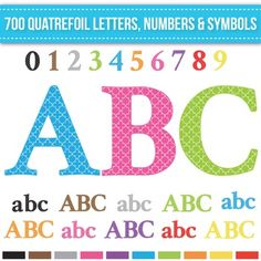 Clip Art Quatrefoil Alphabet Letters Numbers and Symbols includes 700 pieces in…
