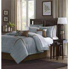 Connell Blue Seven-Piece Queen Comforter Set